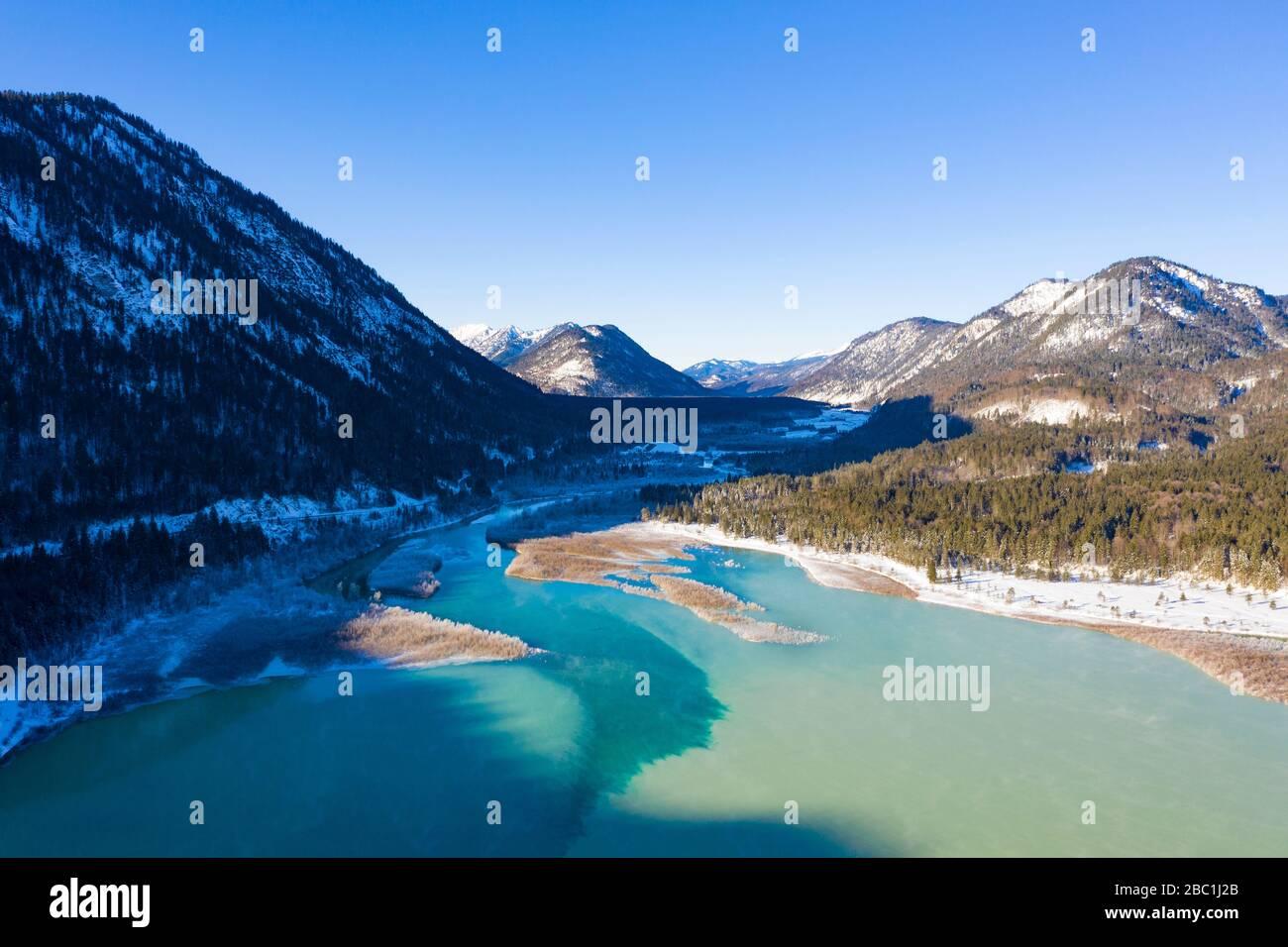 Isar am Sylvensteinsee, Luftaufnahme , Lenggries, Isarwinkel, Oberbayern, Bayern, Deutschland Stock Photo