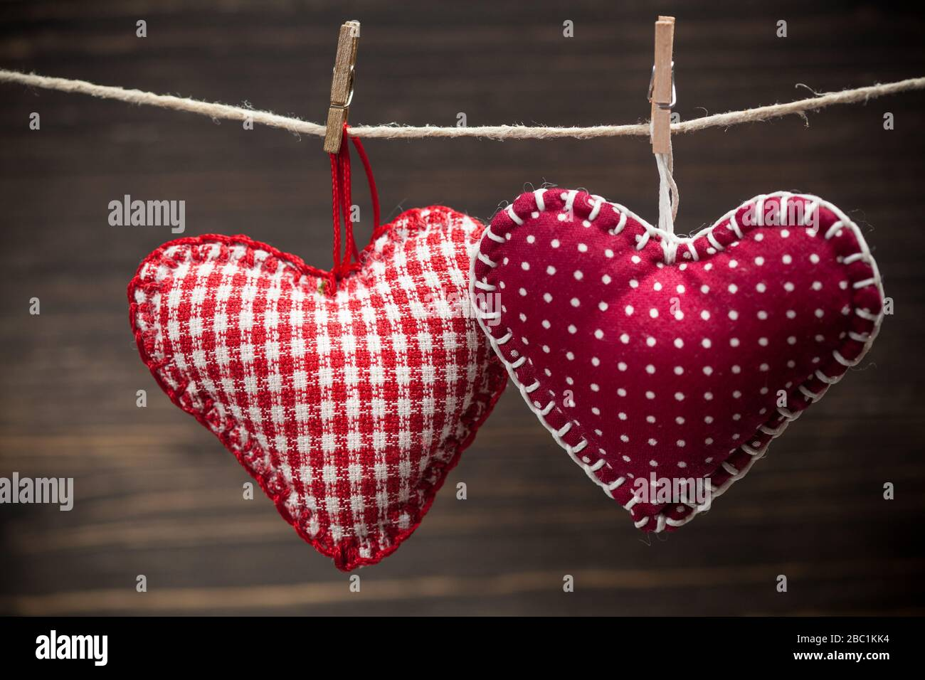 Colorful Fabric Hearts On Wood Backgrounds Valentine S Love Concept Stock Photo Alamy