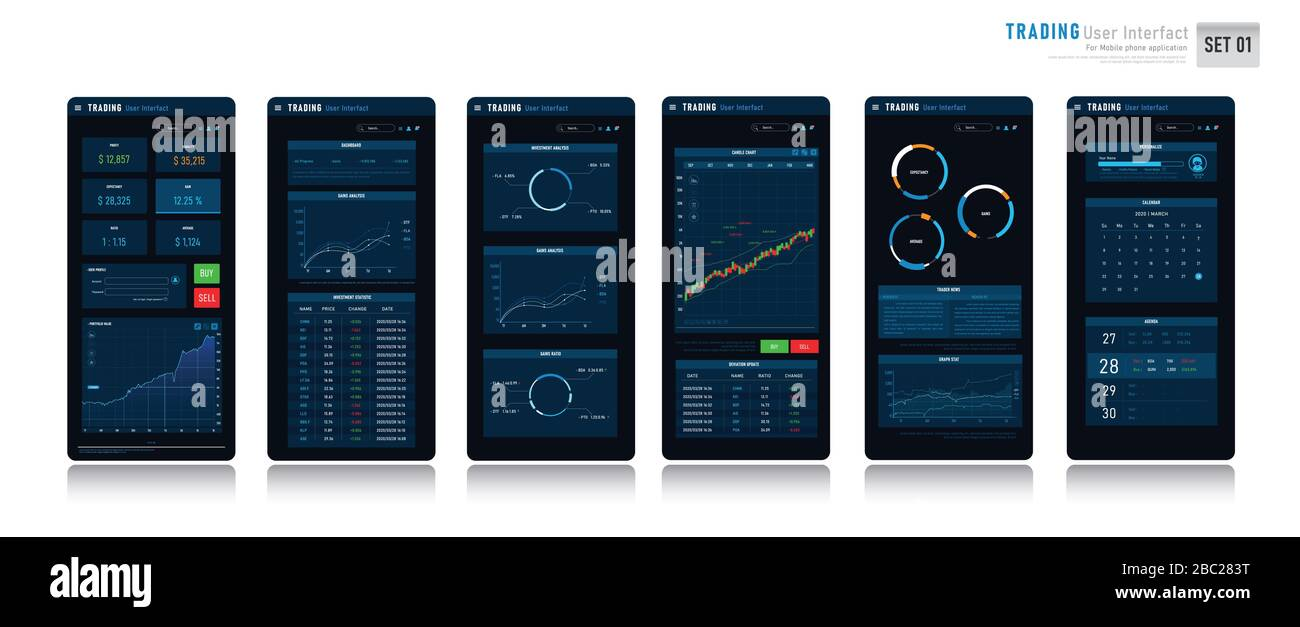 Trading User Interface Design Element For The Mobile Phone Monitor Stock Currency Investment And Trading Concept Business Ui For Application With S Stock Vector Image Art Alamy