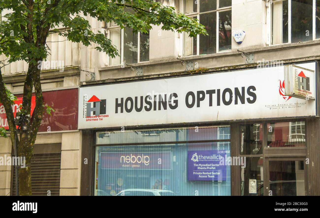SWANSEA, WALES - JULY 2018: Exterior view of the Housing Options service office in Swansea city centre. It is operated by Swansea City Council Stock Photo