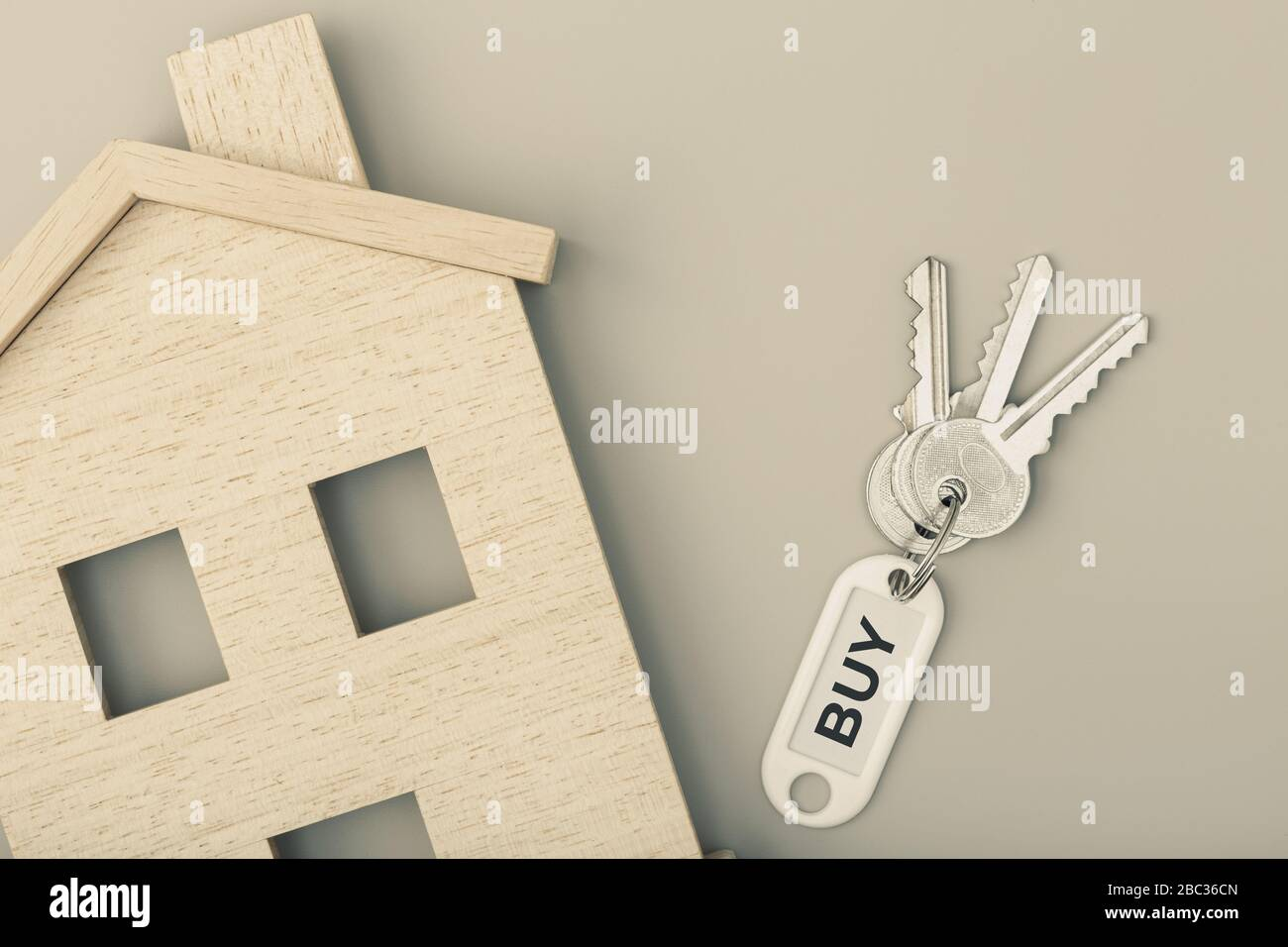 Buying A House Concept Real Estate Market House Icon With Keys Copy Space Top View Stock Photo Alamy