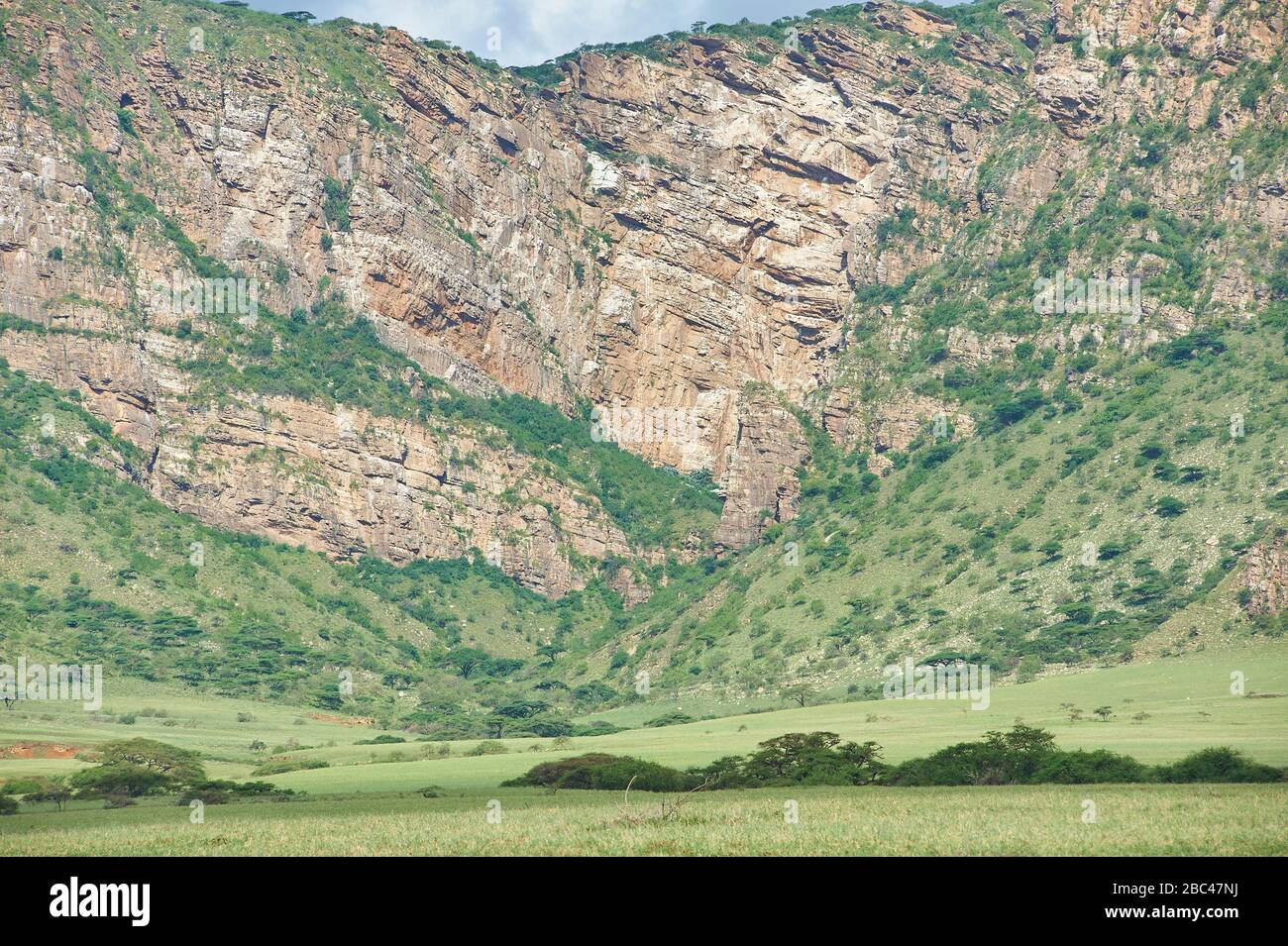A sharp 400 metre drop off rocky wall, is part of the Rift Valley near Engorika, Sanyan (Northern Tanzania) Stock Photo