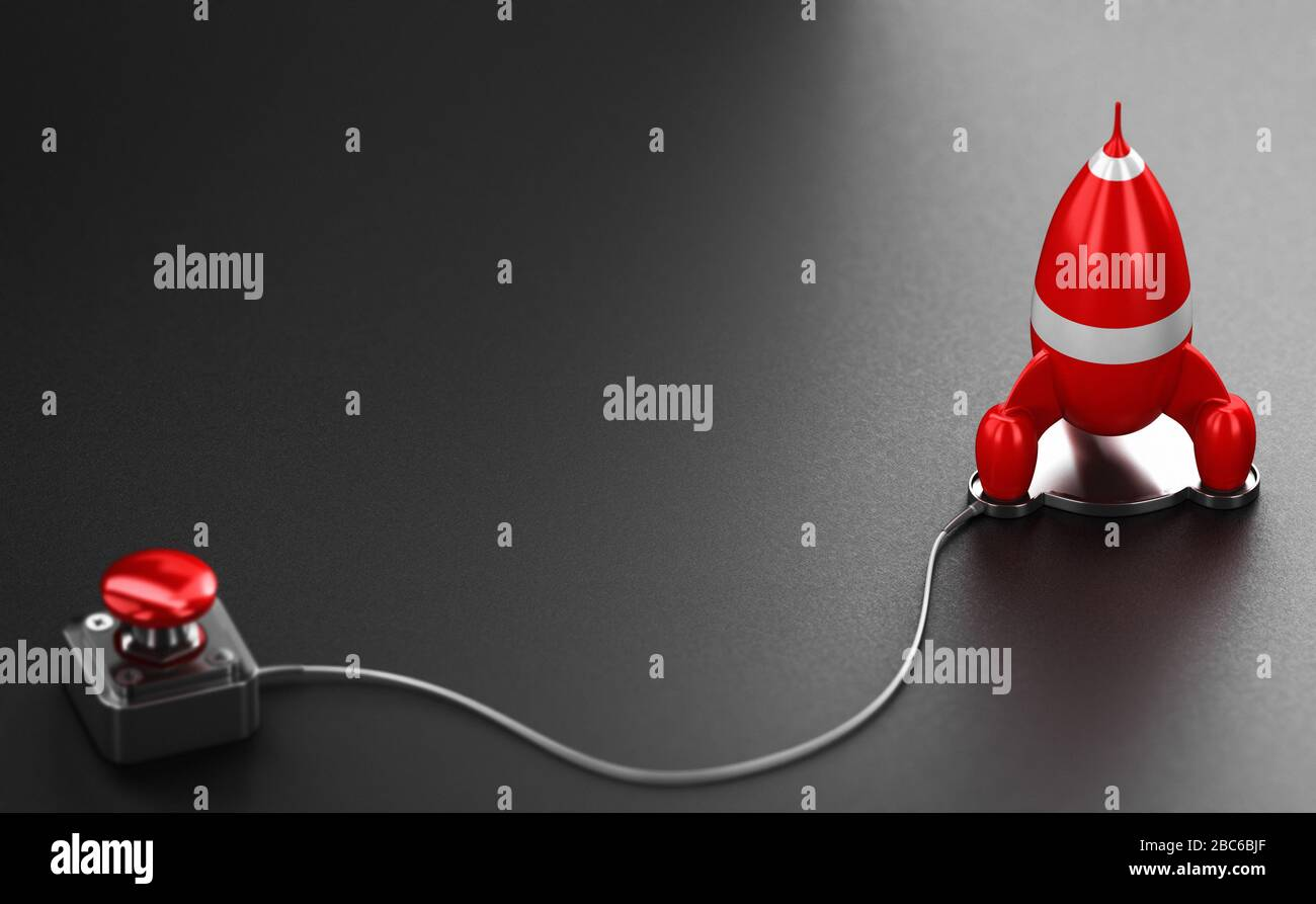 Red rocket and launcher over black background. Business or marketing strategy booster concept. 3D illustration. Stock Photo