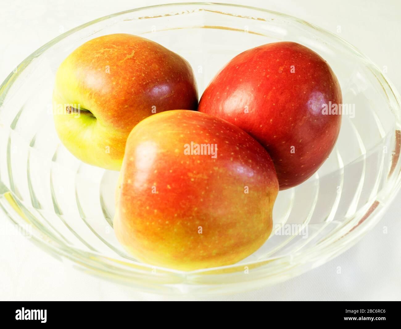Three braeburn apples Stock Photo
