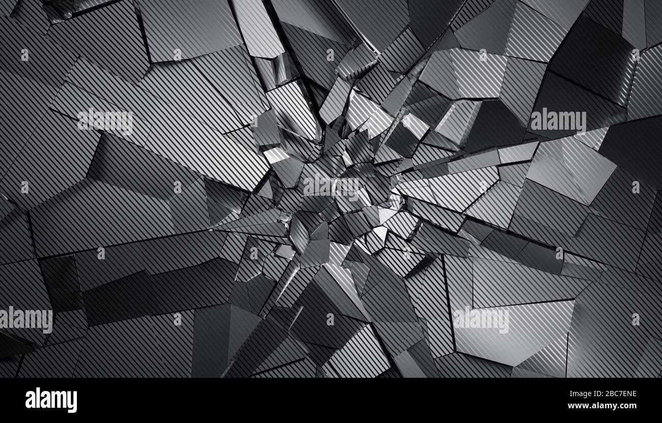Abstract 3d rendering of cracked surface. Modern background design, wall destruction Stock Photo