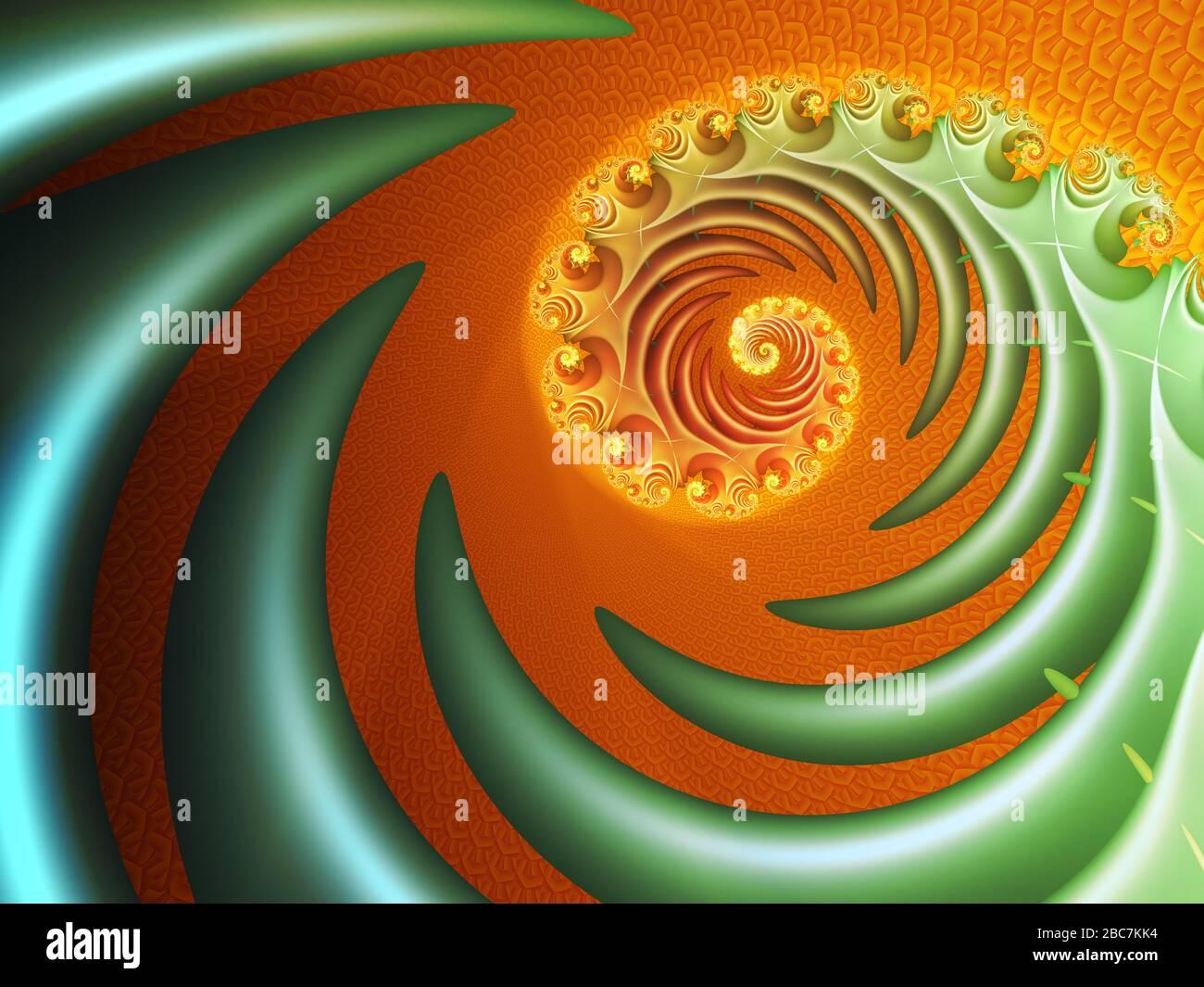 Abstract digital art with spiralling green fern shape Stock Photo