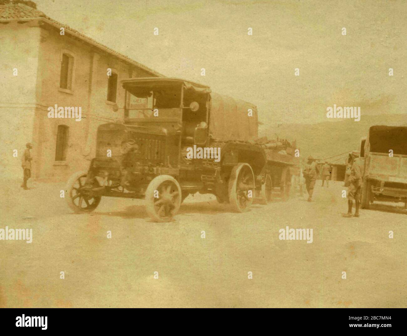 Miliary transportation lorry while manouvering, Italy 1910s Stock Photo