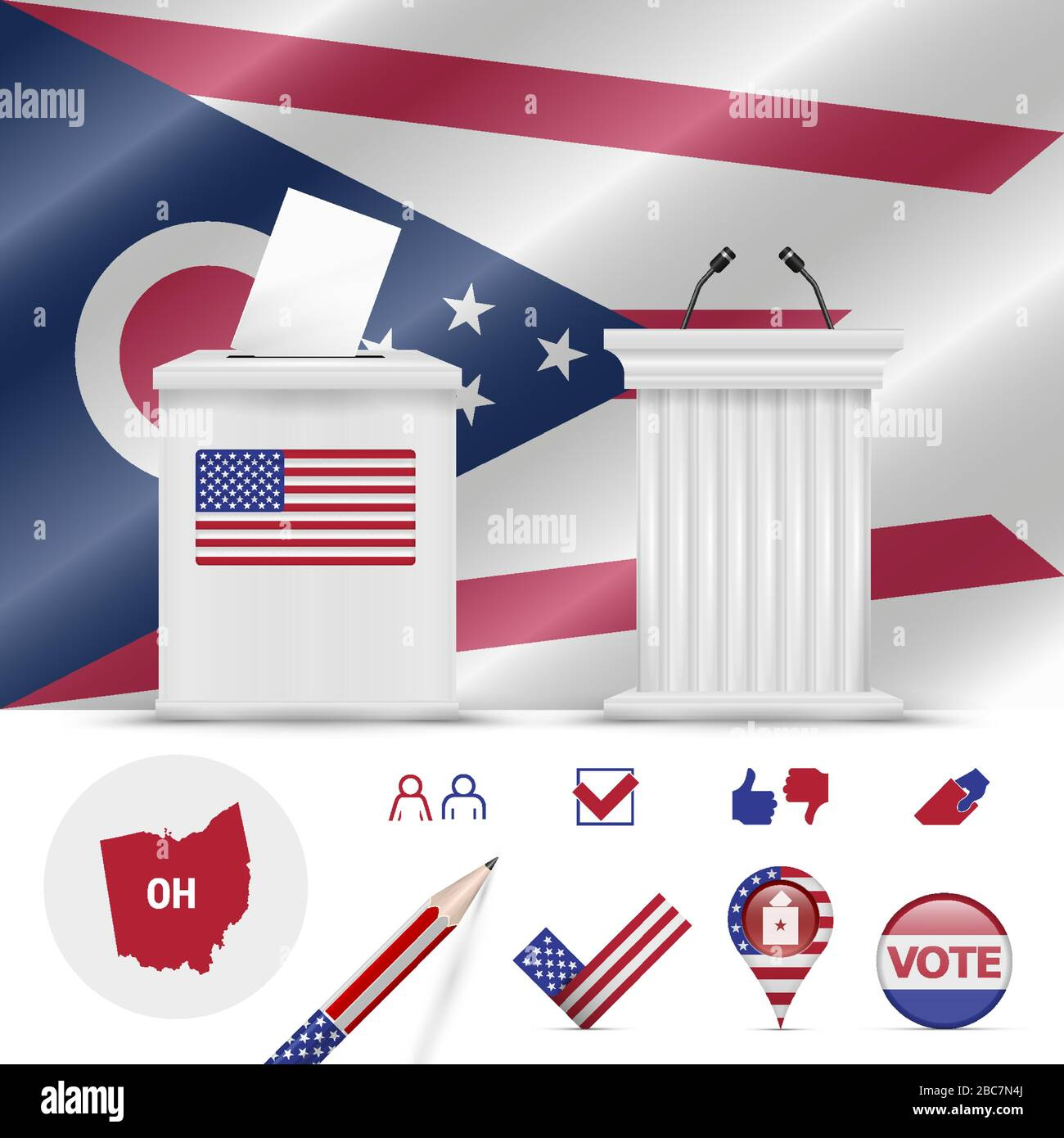 Presidential elections in Ohio. Vector waving flag, realistic ballot box, public speaker's podium, silhouette map and voting icon set. Stock Vector