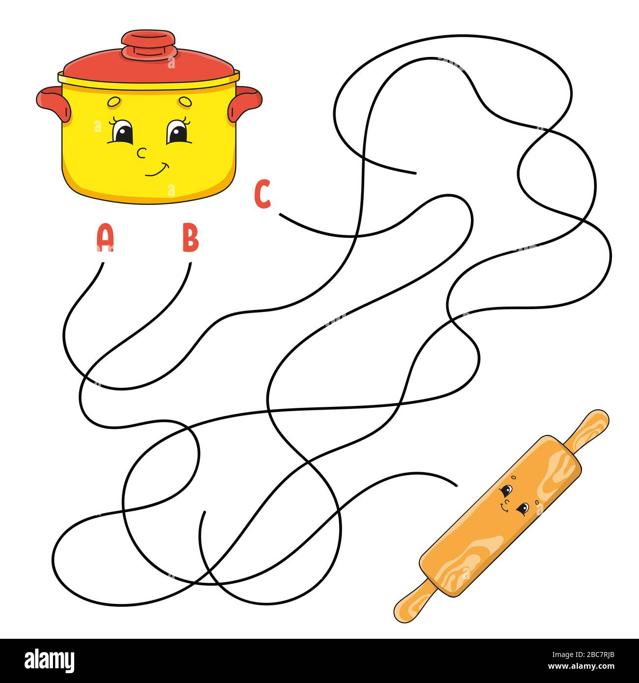 Easy Maze Stewpan And Rolling Pin Labyrinth For Kids Activity