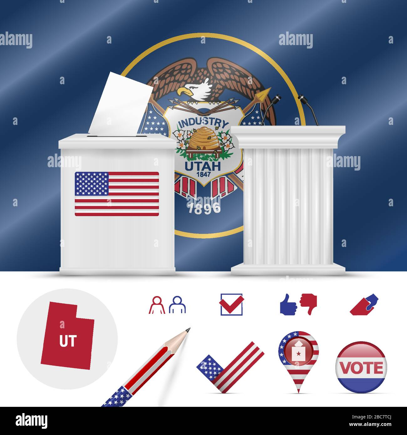 Presidential elections in Utah. Vector waving flag, realistic ballot box, public speaker's podium, silhouette map and voting icon set. Stock Vector
