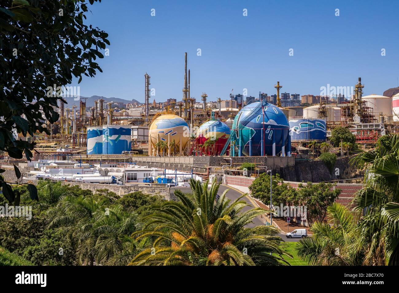 Colorful buildings and structures of the Oil refinery Refinería de Santa Cruz de Tenerife Stock Photo