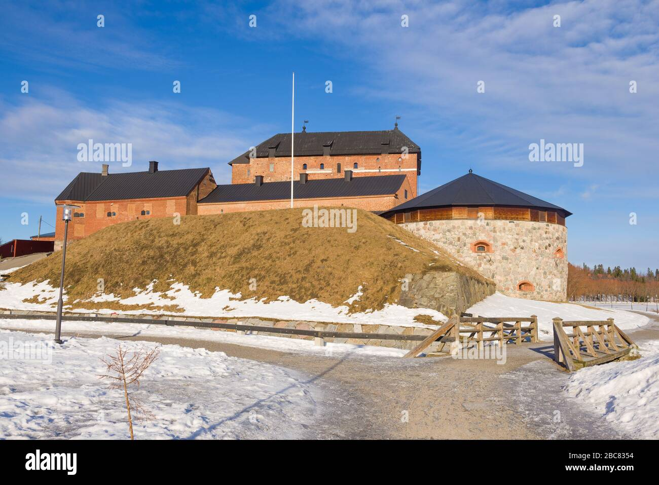 At the ancient fortress of Hameenlinna on a sunny March day. Finland Stock Photo