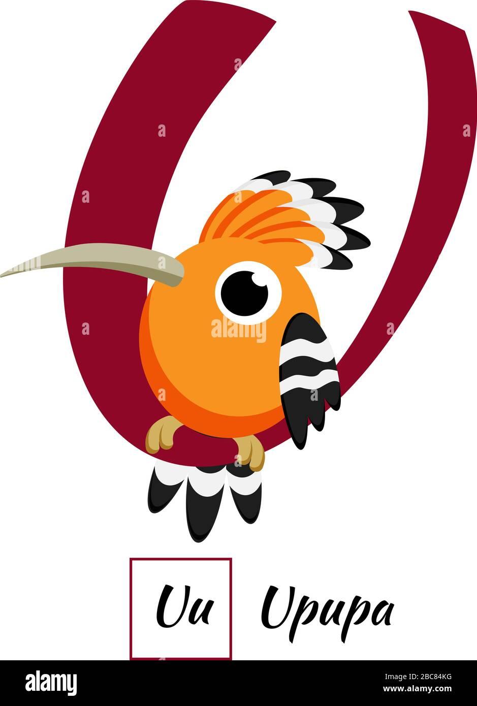 Cute English animal alphabet letter U vector image Stock Vector ...