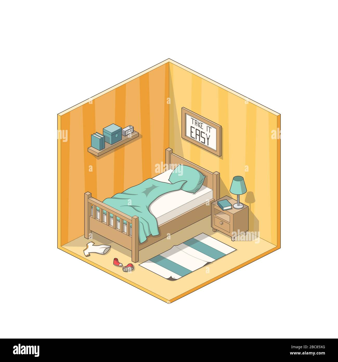 Isometric Bedroom With Bed Cupboard And Other Furniture Vector Illustration With Separate Layers Stock Vector Image Art Alamy