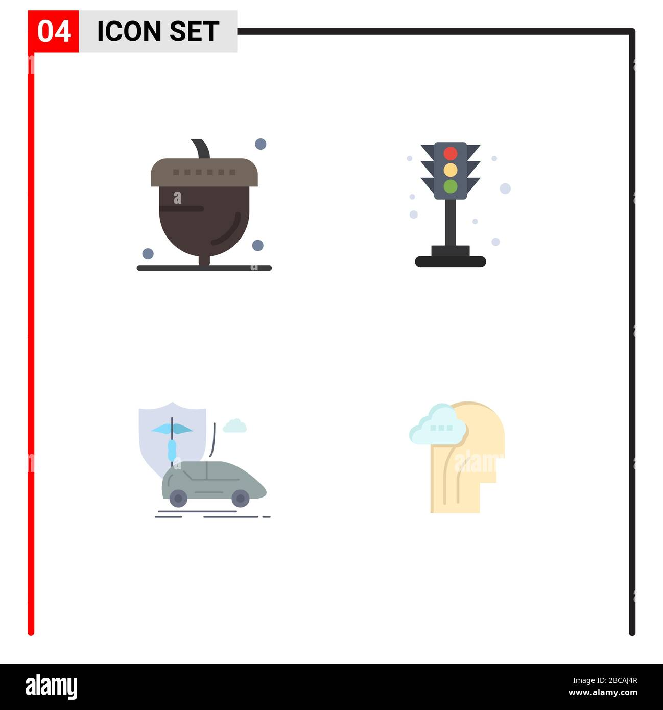 Group Of 4 Modern Flat Icons Set For Acorn Car Oak Life Insurance Editable Vector Design Elements Stock Vector Image Art Alamy