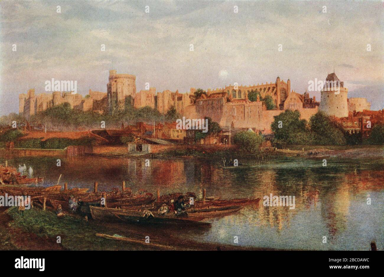 Windsor Castle in the 19th Century, from a watercolour by Alfred William Hunt RWS 1830 - 1896 Stock Photo