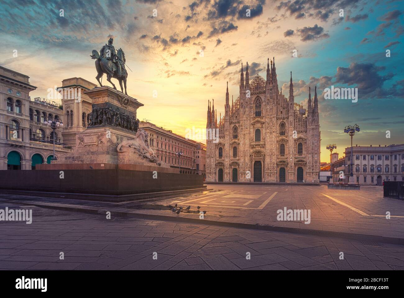 Duomo , Milan gothic cathedral at sunrise,Italy,Europe.Horizontal photo with copy-space. Stock Photo