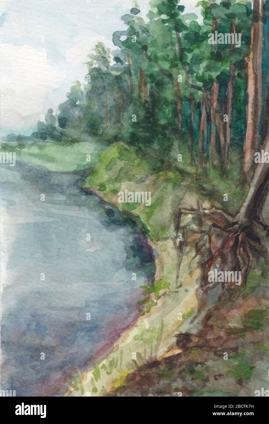 watercolor landscape high resolution stock photography and images alamy https www alamy com watercolor landscape the majestic northern expanse of the mighty river flowing among the spruce forest image351927621 html