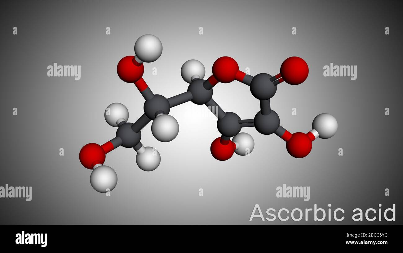 Ascorbic acid, vitamin C, C6H8O6 molecule. Food additive E300. Molecular model. 3D rendering Stock Photo