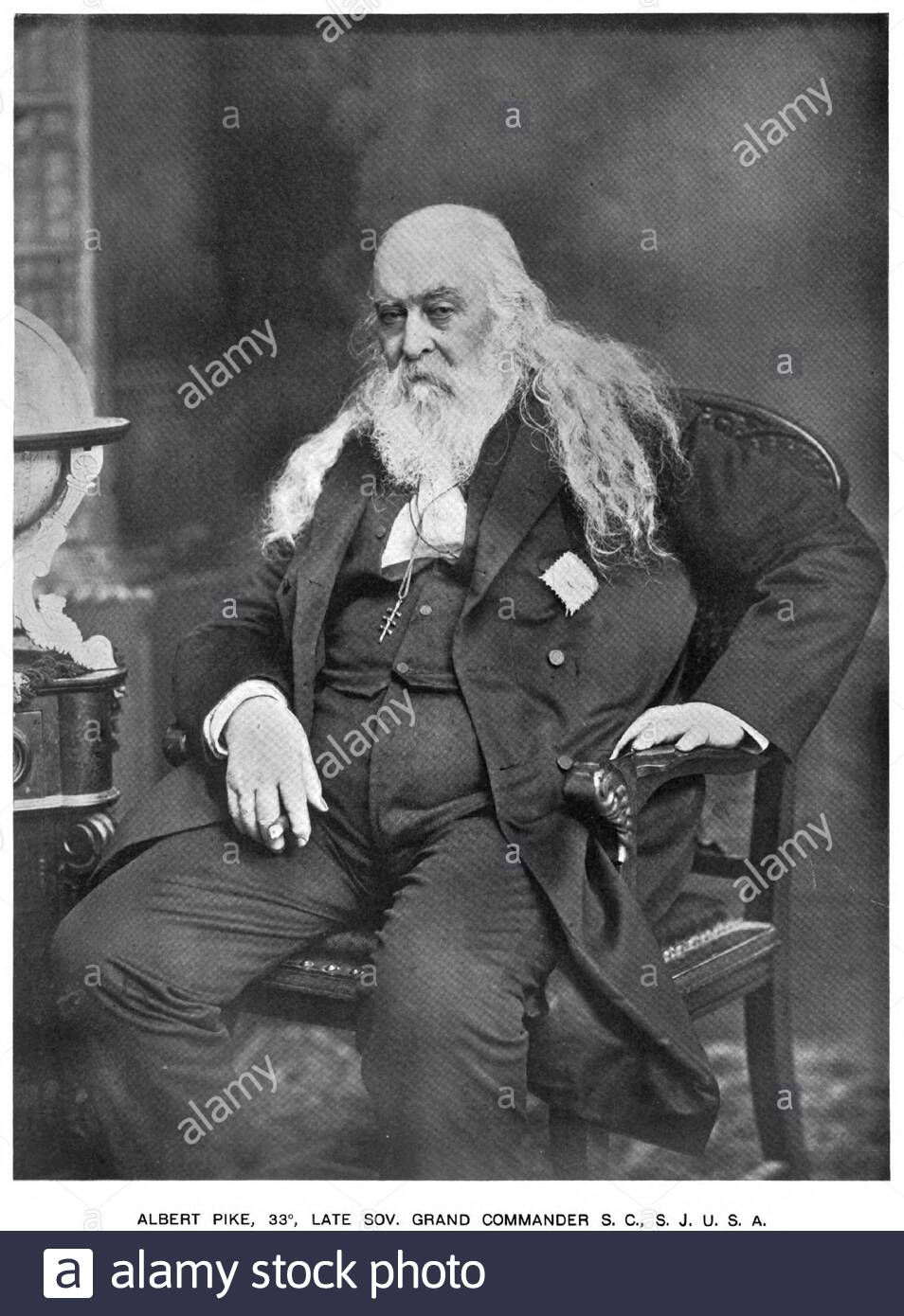 Albert Pike portrait, 1809 – 1891, was an American author, poet and Freemason Sovereign Grand Commander of the Scottish Rite's Southern Jurisdiction, circa late 1800s Stock Photo