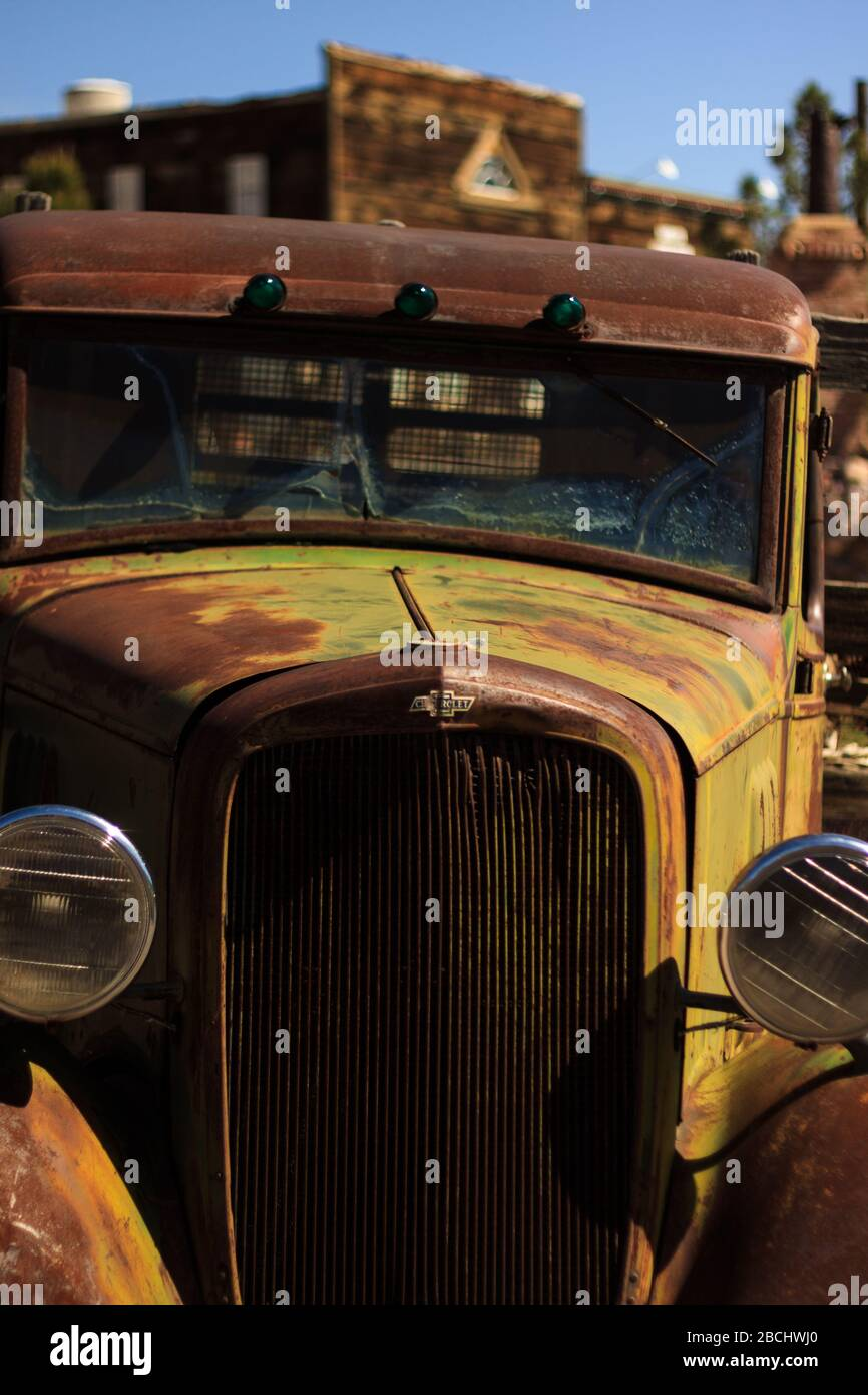 rusting abandoned car. Nelson, Nevada, United States. Stock Photo