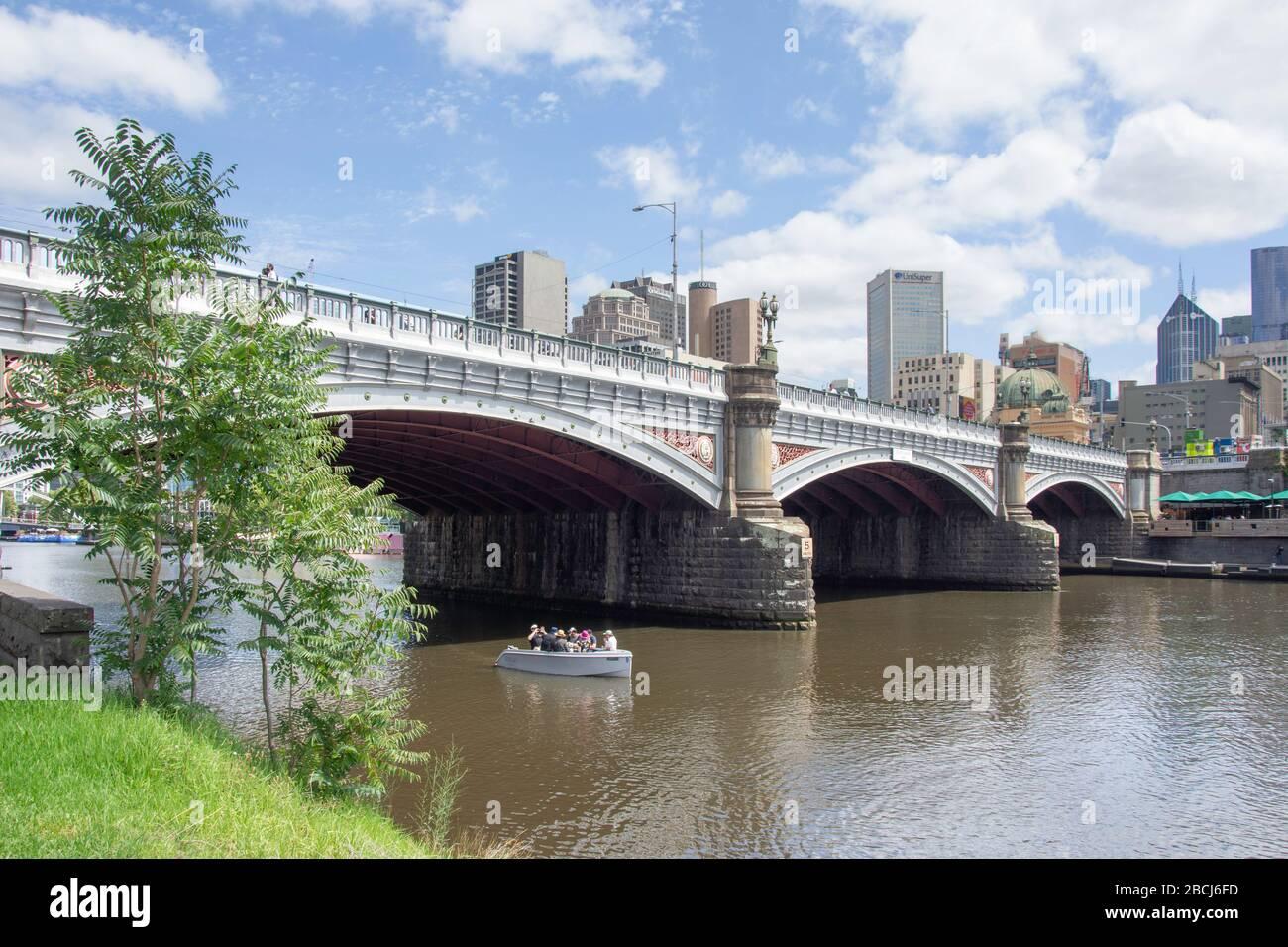 Princes Bridge across Yarra River, City Central, Melbourne, Victoria, Australia Stock Photo