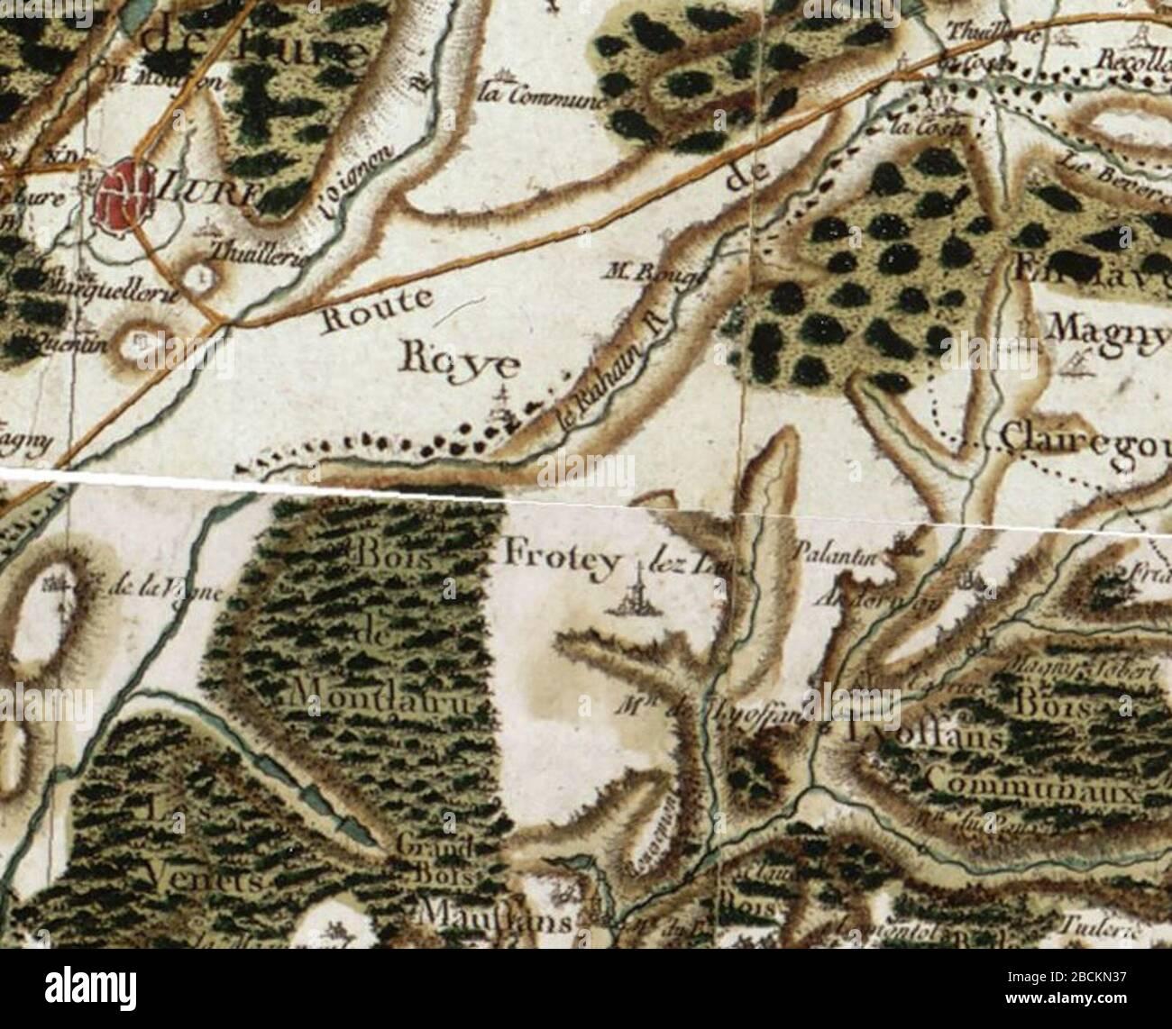 carte de cassini date Français : Frotey, Roye et Lure sur la carte de Cassini.; 18th