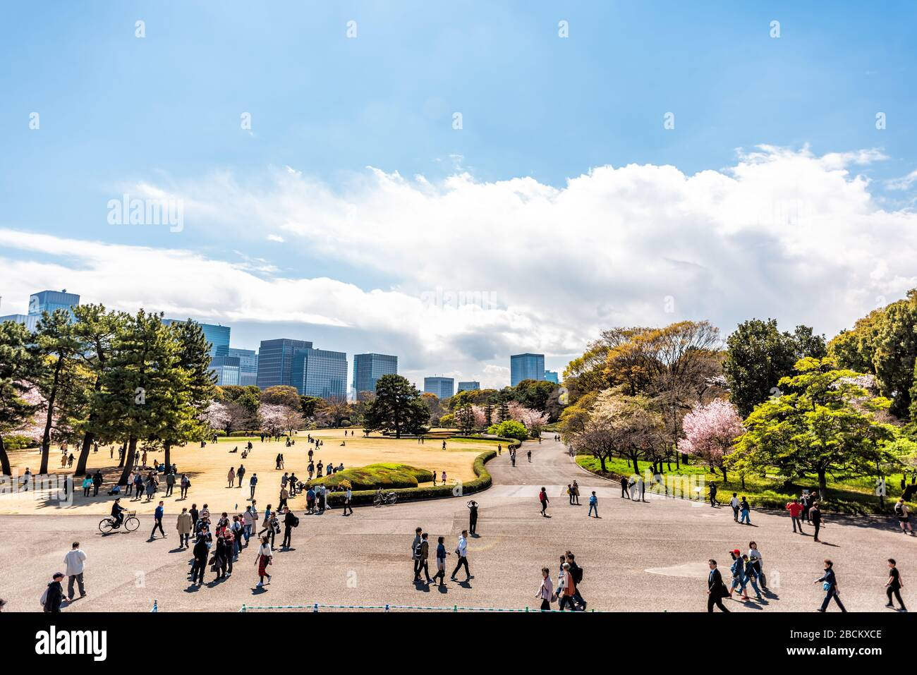 Tokyo, Japan - April 1, 2019: View from site of Edo Castle keep at Imperial palace national gardens park with cityscape skyline of modern skyscrapers Stock Photo