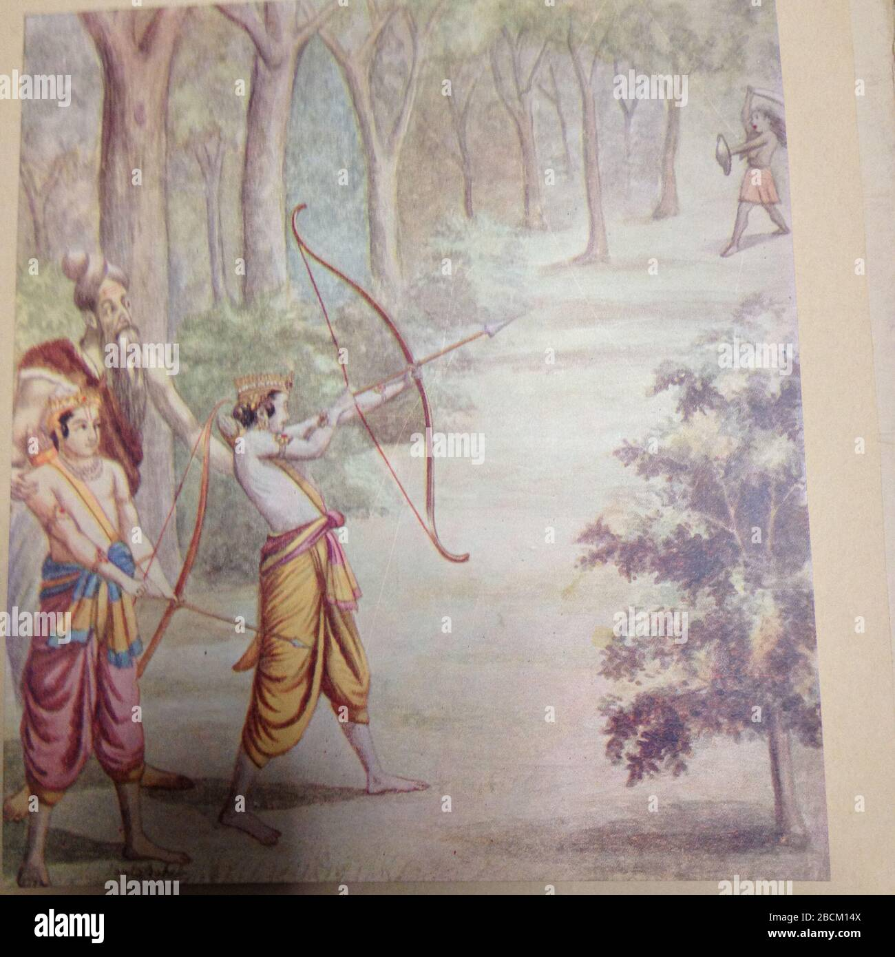 """""""Rama Killing Demon Tataka; Rama and Lakshman studied military science and other subjects under the famous guru, sage Viswamitra. After completion of their studies, they were returning to Ayodhya. While passing through forest they came across a demon called Tataka who was causing perpetual nuisance to sages in their conducting of religious duties and sacrifices. Viswamitra told Rama to kill Tataka. Rama hesitated to kill a woman. The guru convinced him that social menace in any form or gender was to be controlled and it was dharma (duty) of a Kshatriya to eradicate evil. With one arrow Rama di Stock Photo"""
