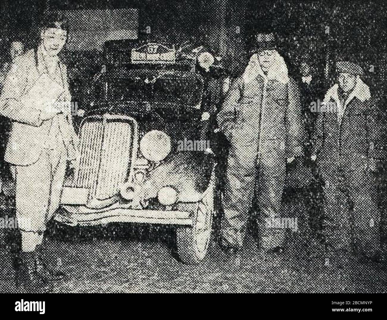 """""""Français: Rallye Monte Carlo 1934, le suédois Glerum ici à Bruxelles. English: Entry #67 at the 1934 Rallye Monte Carlo is a Ford driven by P. J. Glerum, having started in Tallinn,[1] this is then in Bruxelles?; 16 October 2017; L'Auto-vélo, 25 janvier 1934; L'Auto-vélo; """" Stock Photo"""