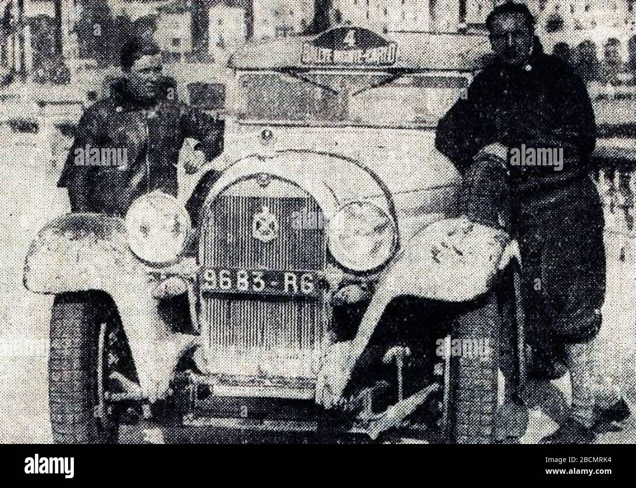 """""""Français: Rallye Monte Carlo 1934, victoire de Gas (G.) et Trévoux (D.) sur Hotchkiss.English: Entry #4 in the 1934 Rallye Monte Carlo is a Hotchiss AM 80 S 3,485 ccm (license 9683 RT), driven by Louis Gas (left in picture) and Jean Trévoux (to the right).  They had started in Athens[1] and were also the winner this year!; 16 October 2017; L'Auto-vélo, 26 janvier 1934; L'Auto-vélo; """" Stock Photo"""