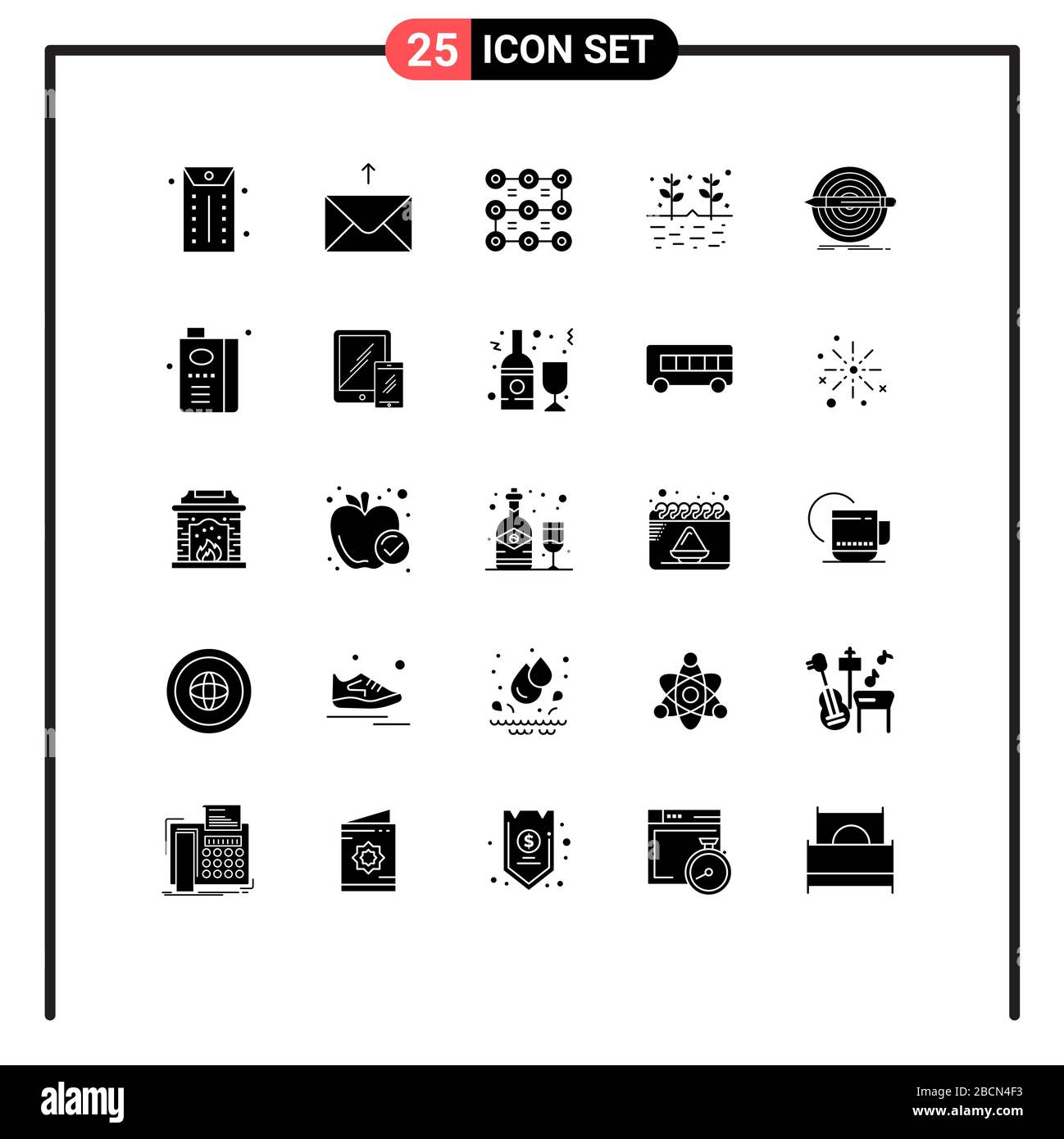 Set Of 25 Modern Ui Icons Symbols Signs For Set Goal Protection