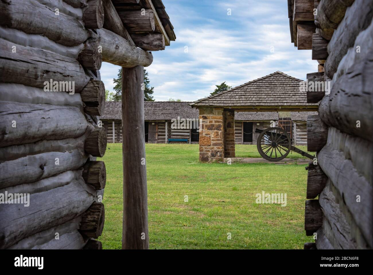 Inside the stockade at Fort Gibson, a historic military site in Oklahoma that guarded the American frontier in Indian Territory from 1824 until 1888. Stock Photo