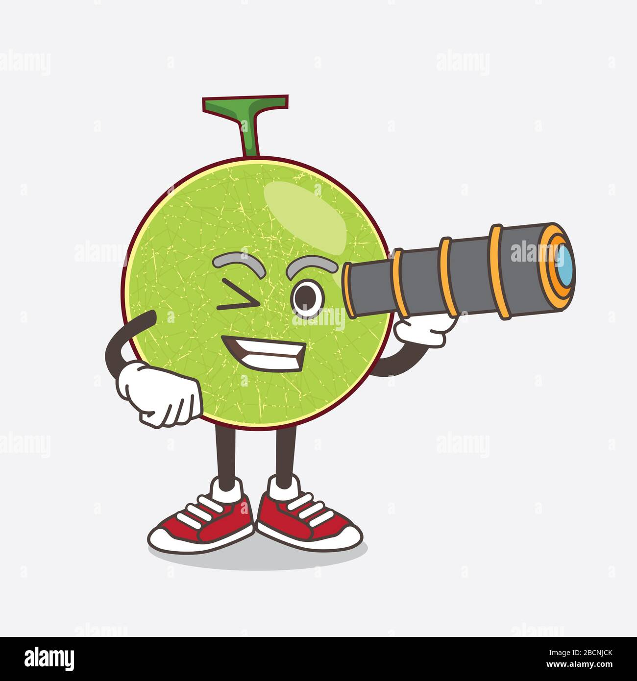An Illustration Of Cantaloupe Melon Cartoon Mascot Character Using A Monocular Stock Photo Alamy New users enjoy 60% off. alamy