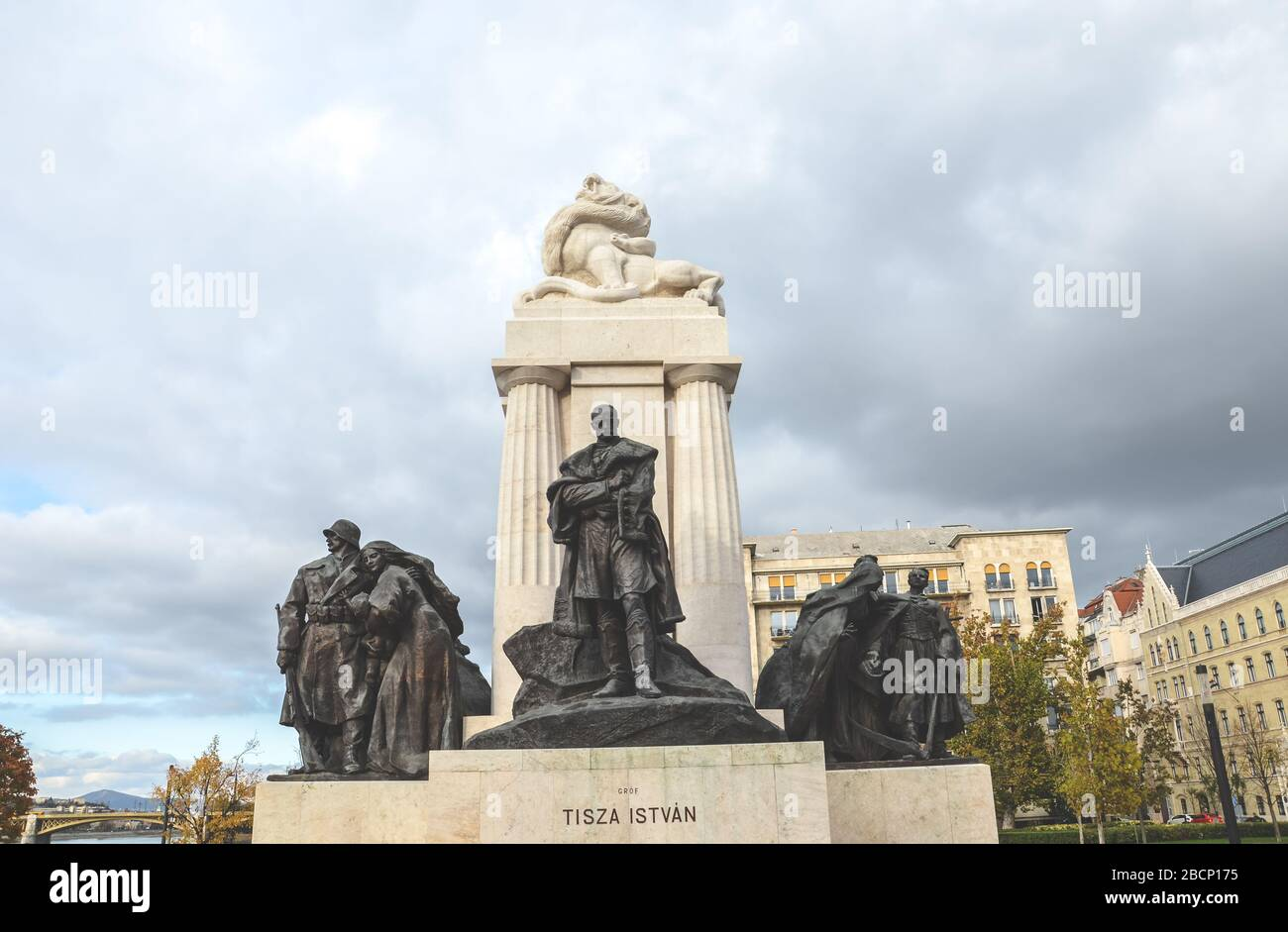 Budapest, Hungary - Nov 6, 2019: Istvan Tisza Monument in the Hungarian capital. Statue complex with sculpture of Hungarian politician and prime minister from the Austria-Hungary era in the middle. Stock Photo