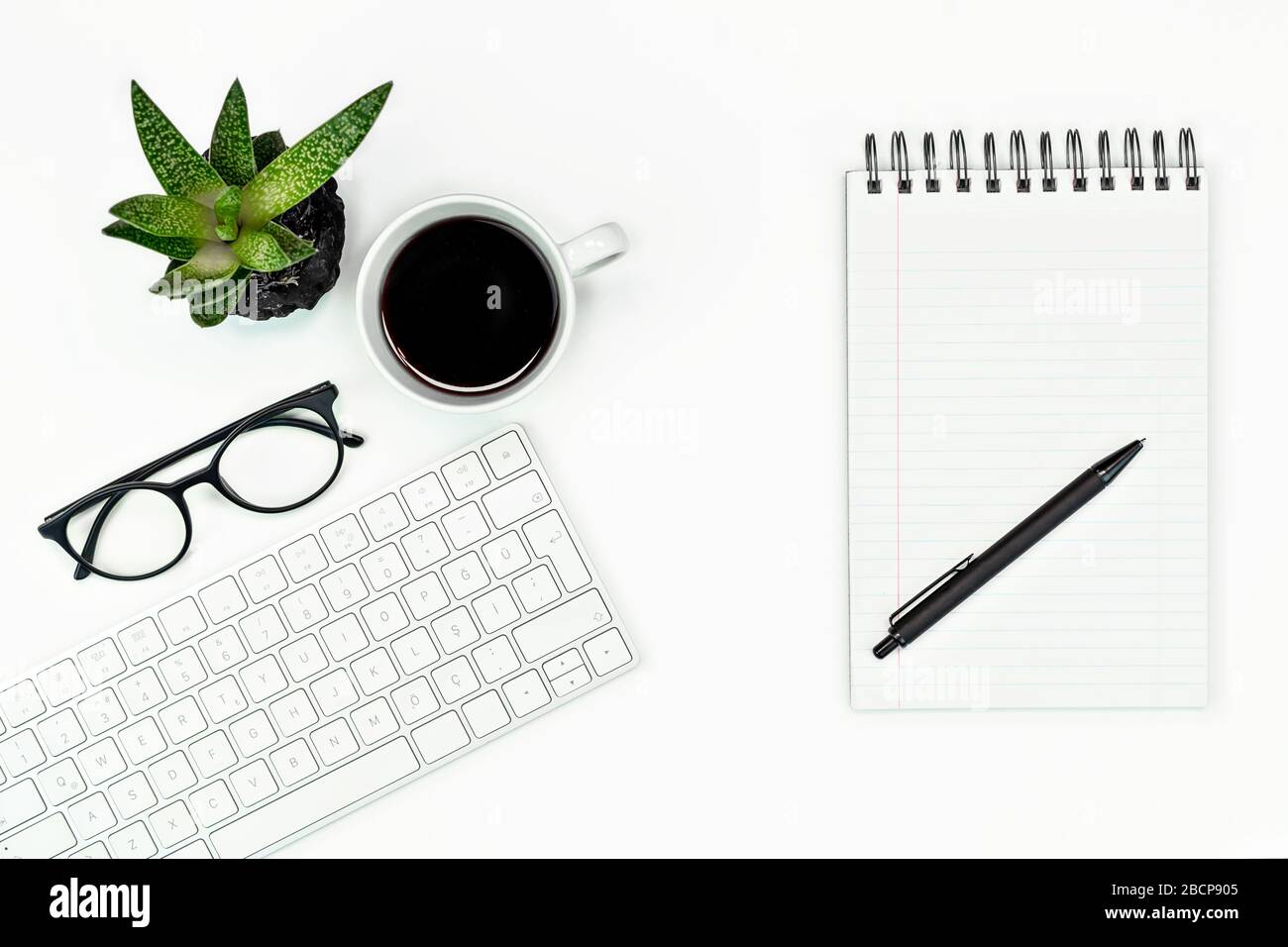 White Office Desk Table Layout Computer Keyboard Glasses Coffee And Pen Copy Space Flat Lay Stock Photo Alamy