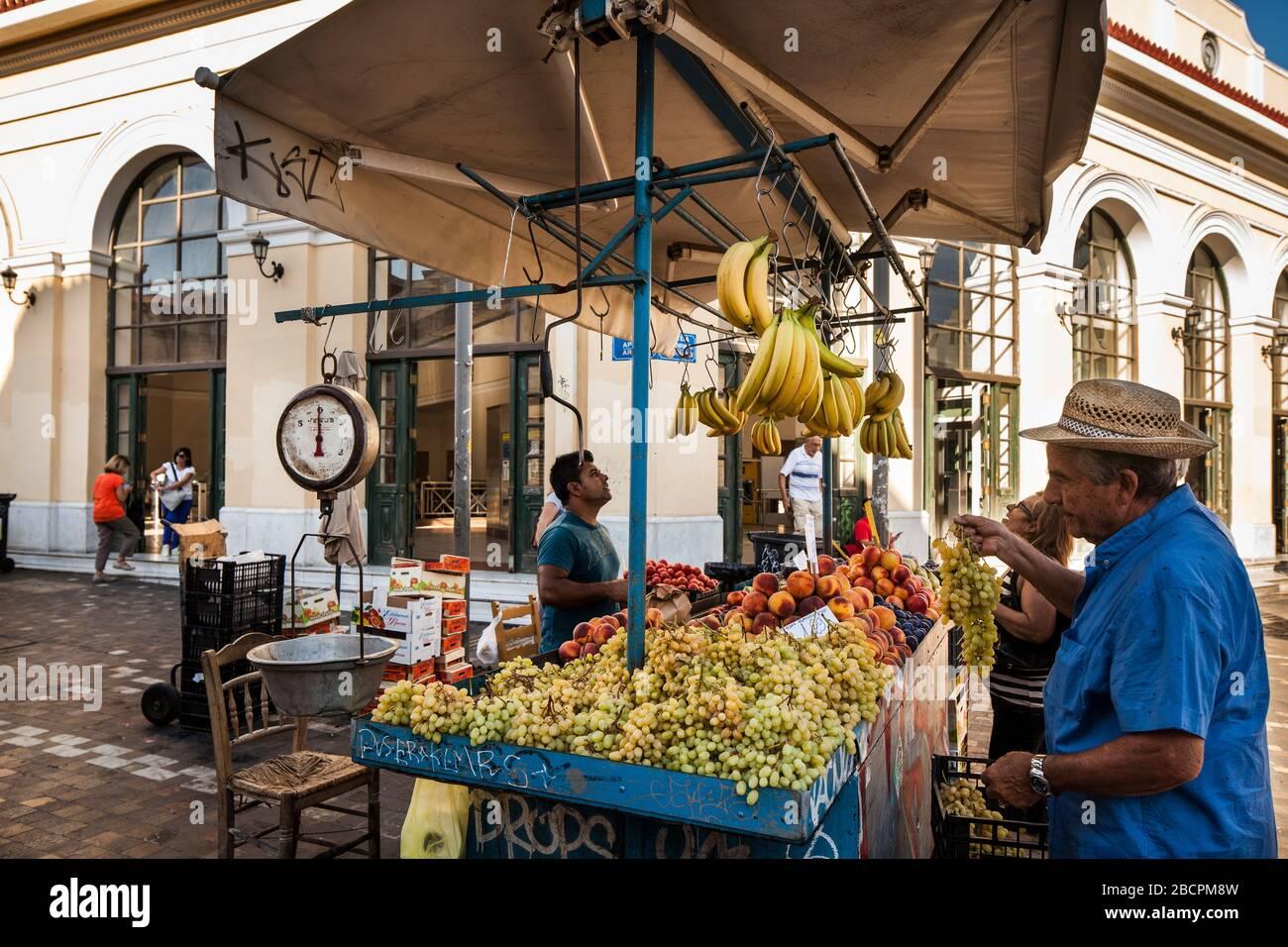 Greece, Athens: Local fruit vendor at Omonia square Stock Photo