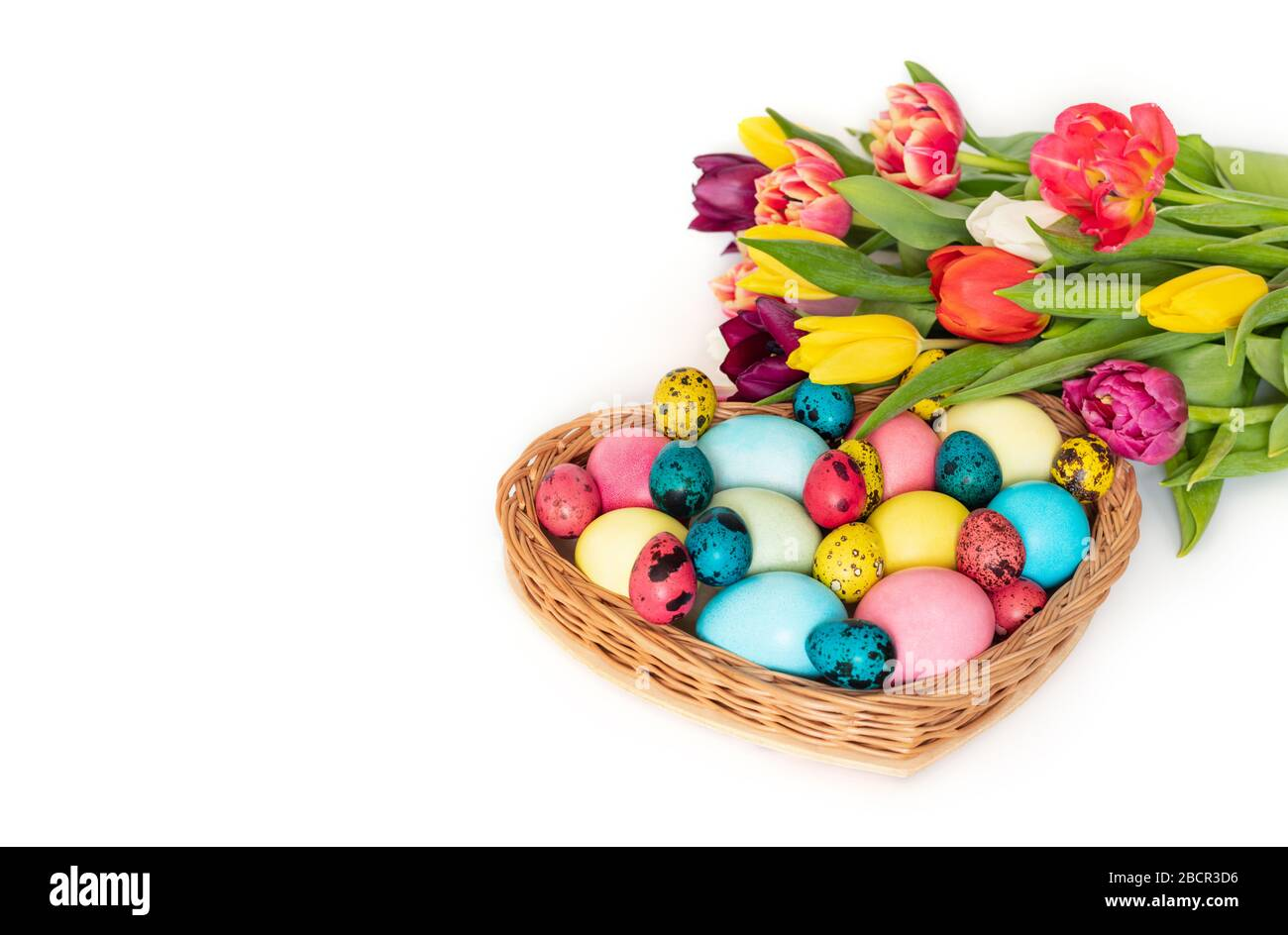 Easter colorful eggs and a bouquet of spring tulip flowers on a white background. Horizontal orientation. Copy space. Stock Photo