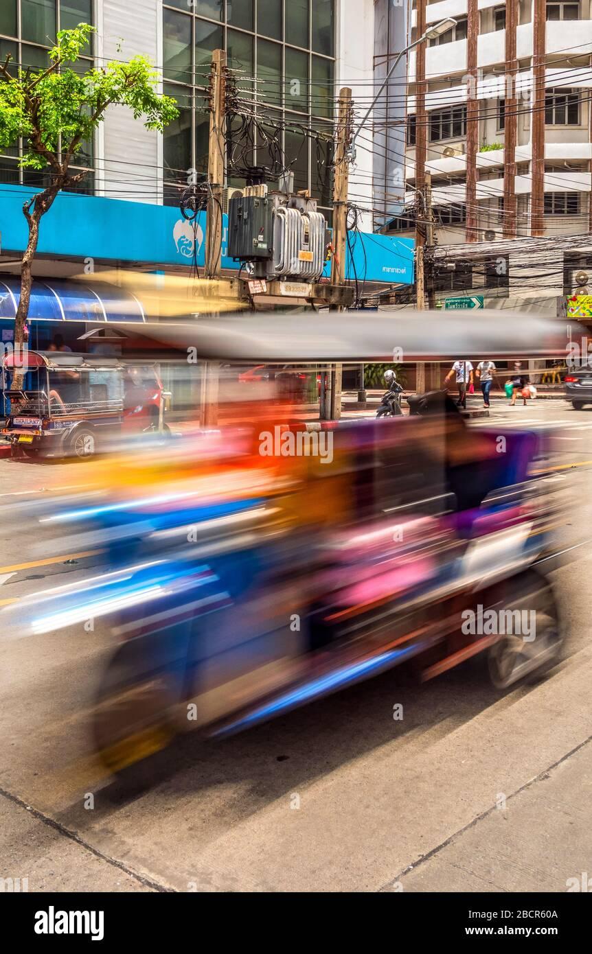 Tuk Tuk three-wheeler taxi, Chinatown, Bangkok, Thailand Stock Photo