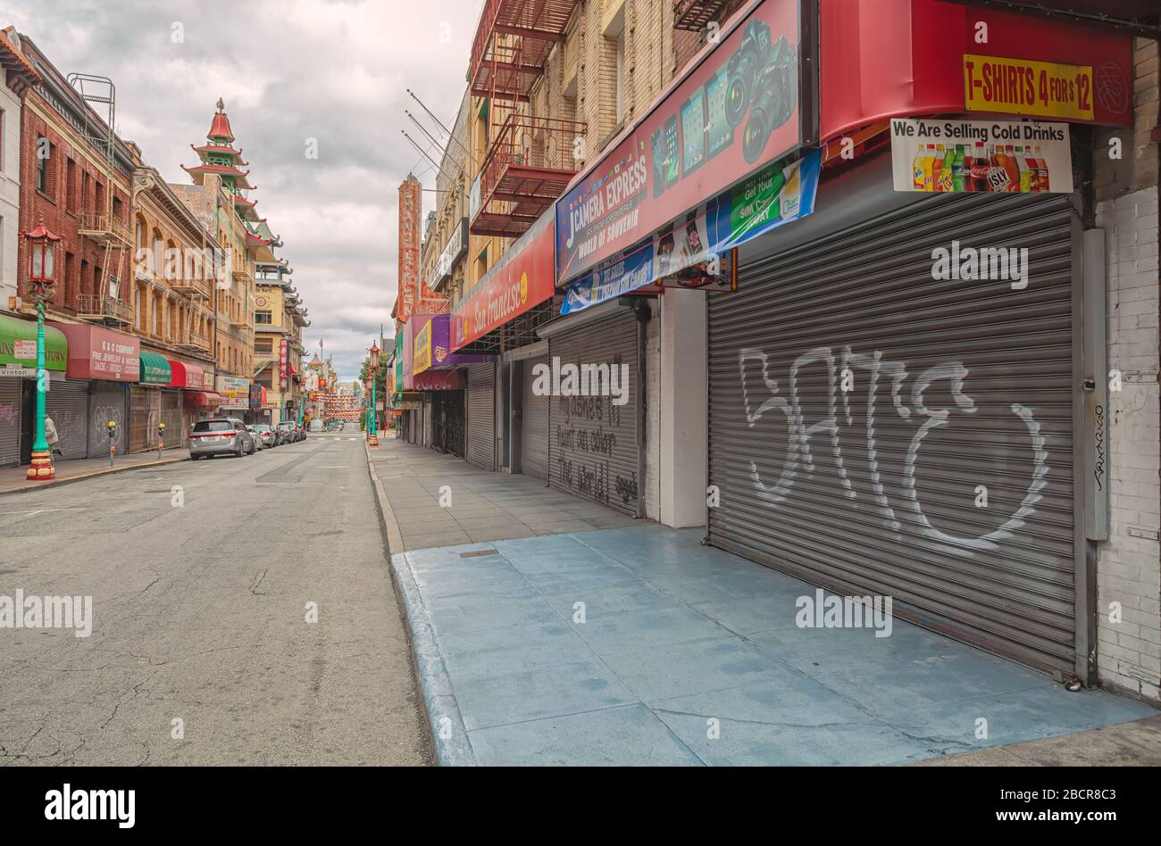 San Francisco Chinatown is empty of tourists and traffic during the city lockdown due to COVID-19 pandemic March 2020, California, USA. Stock Photo