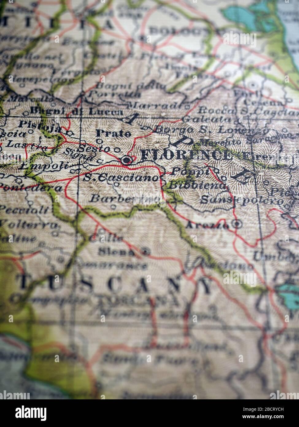 Florence Tuscany Map Italy Europe Stock Photo Alamy