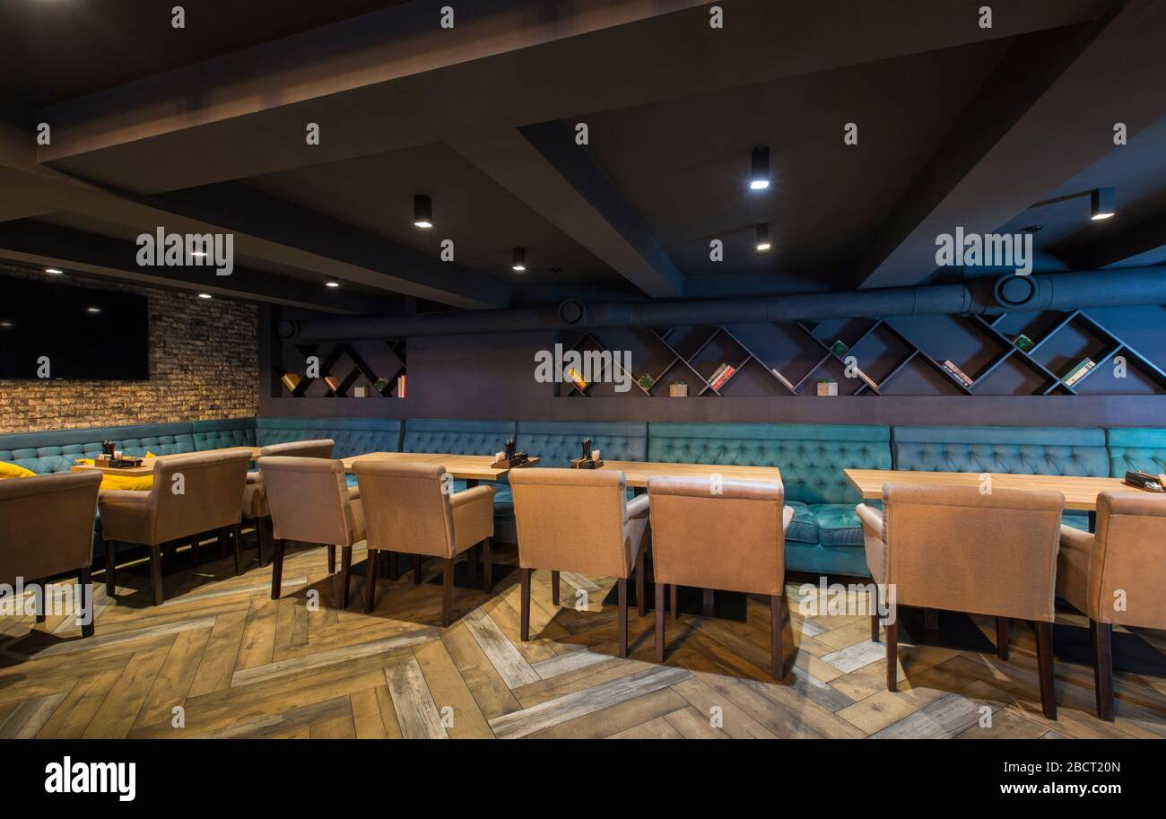 Modern Restaurant Interior In Loft Style With Bricks Wall Stock Photo Alamy