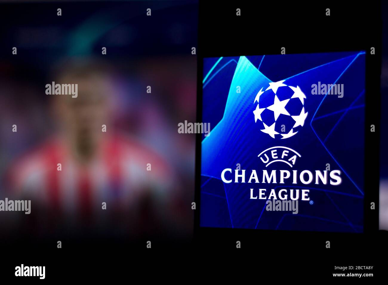 brazil 3rd apr 2020 in this photo illustration a uefa champions league logo seen displayed on a smartphone credit rafael henrique sopa images zuma wire alamy live news stock photo alamy alamy