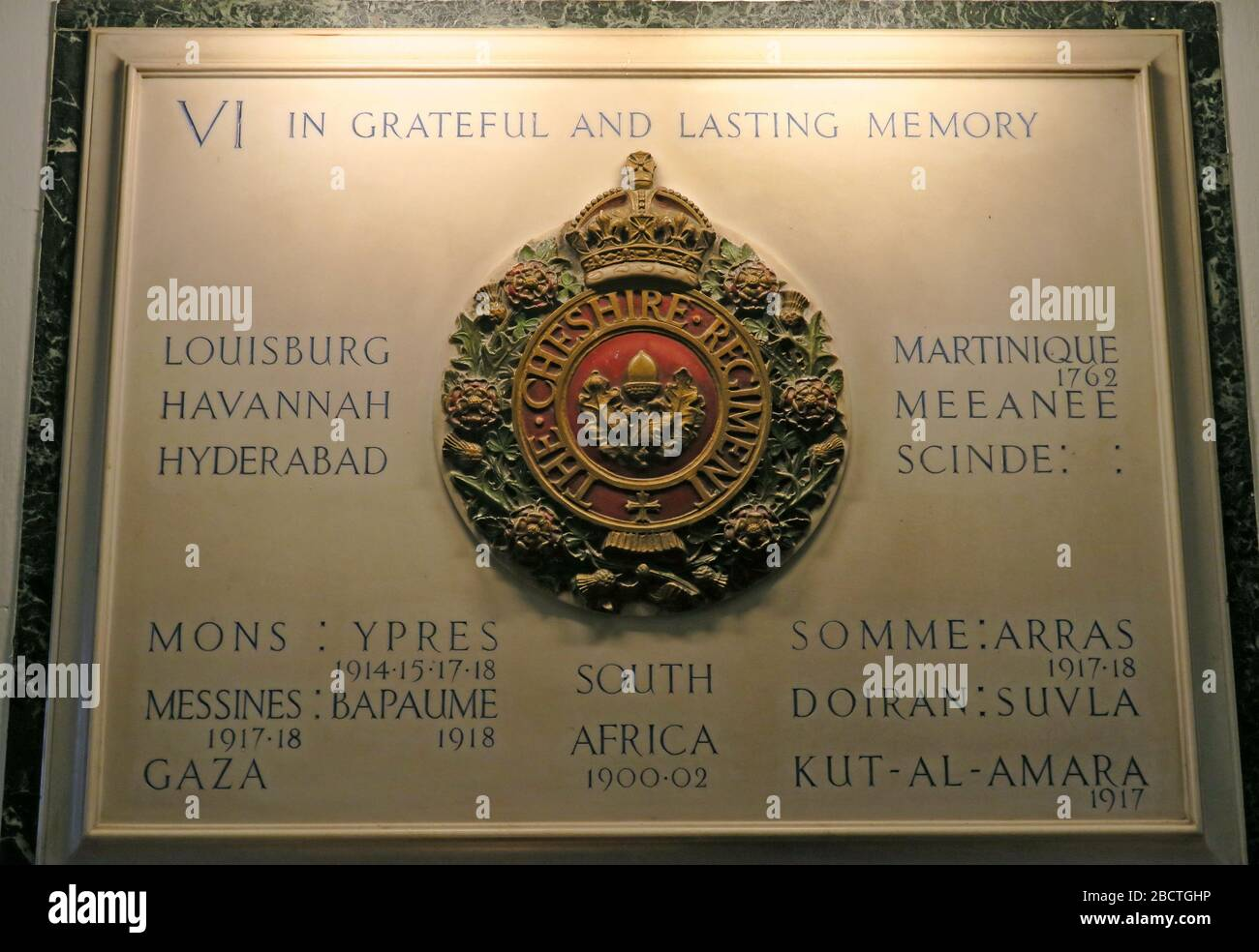 In grateful and lasting memory, Cheshire Regiment, 6th battalion, mural,remembrance, Stockport, Greater Manchester, Cheshire, England, SK1 Stock Photo