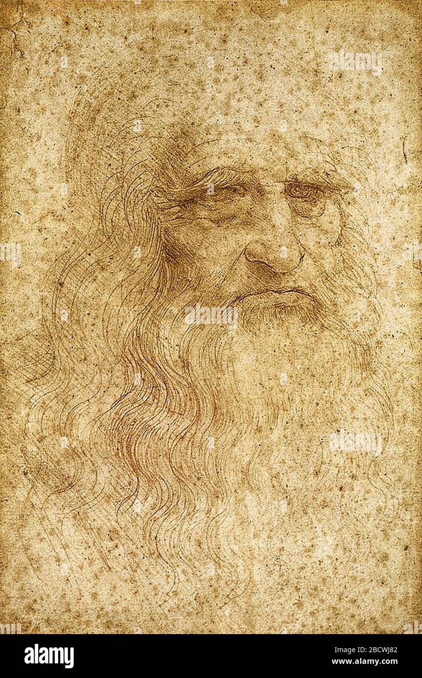 the portrait of an elderly man, red chalk on paper (1510-15) This is feasible self-portrait of Leonardo Da Vinci at age of 60, Digitally altered Copy Stock Photo