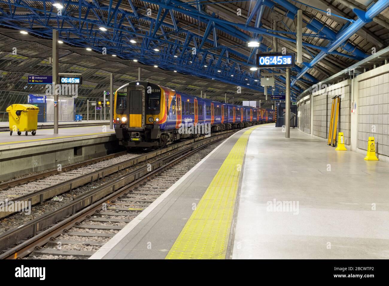 South Western railway Siemens Desiro class 450 trains at London Waterloo railway station in the old Waterloo international Eurostar station platforms Stock Photo