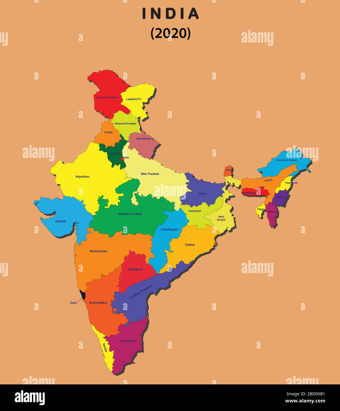 Picture of: India Map With States High Resolution Stock Photography And Images Alamy