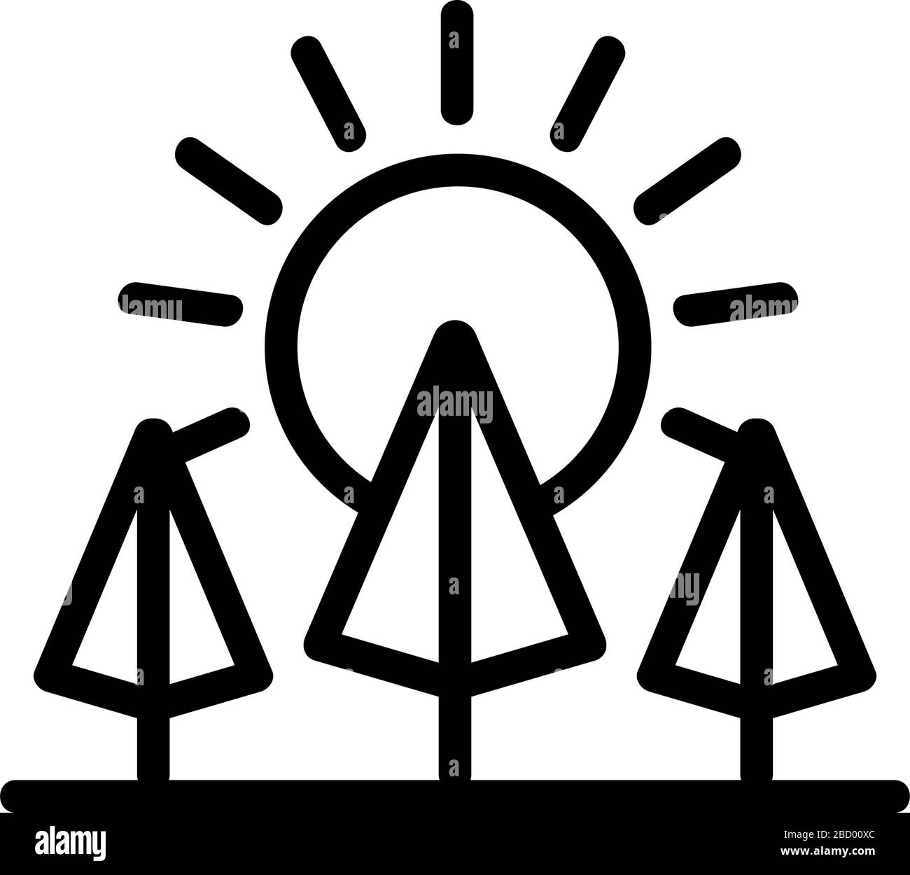 sunset forest icon vector outline illustration stock vector image art alamy alamy