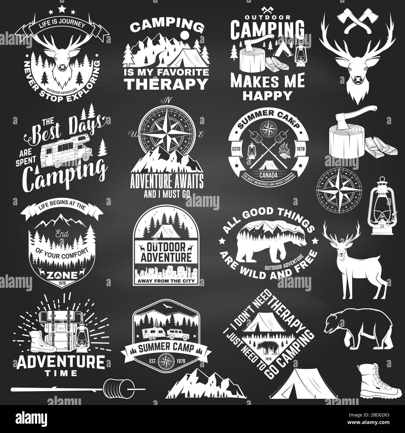 Set Of Outdoor Adventure Quotes On Chalkboard Vector Concept For Shirt Or Logo Print Stamp Vintage Design With Hiking Boots Camping Tent Lantern Axe Mountains Bear Deer Forest Silhouette Stock Vector Image