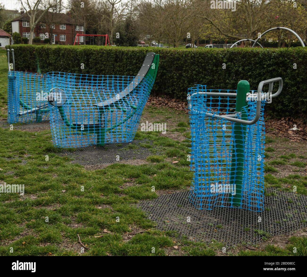 London UK Monday 6 April 2020 As the rules of social distancing have been. continuously ignored, Sutton Park was obliged to cover up all its exercise machines in the open ground,  as well as the children playground  .Paul Quezada-Neiman/Alamy Live News Stock Photo